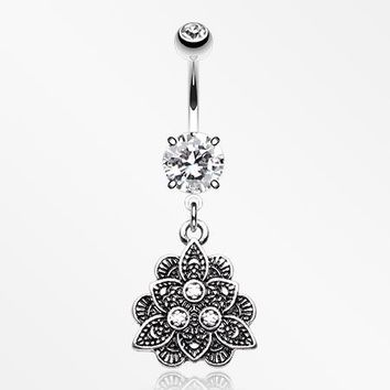 Vintage Antique Lotus Belly Button Ring