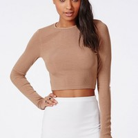RIBBED LONG SLEEVE CROP TOP CAMEL