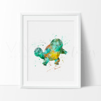 Squirtle, Pokemon Watercolor Art Print