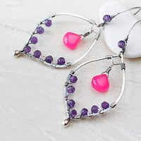 Unique statement earrings, genuine purple amethyst earrings, neon pink chalcedony, gemstone earrings, solid sterling silver, artisan jewelry