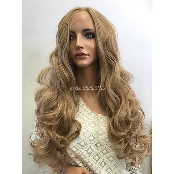 Dark Blonde Curly Human Hair Blend Deep Parting Lace Front Wig -  Leann 61017 8
