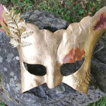 OOAK God mask, Mabon sabbat,  Autumn Equinox, pagan ritual, mumming mystery plays, ritual costume, masquerade mask, fall home decor