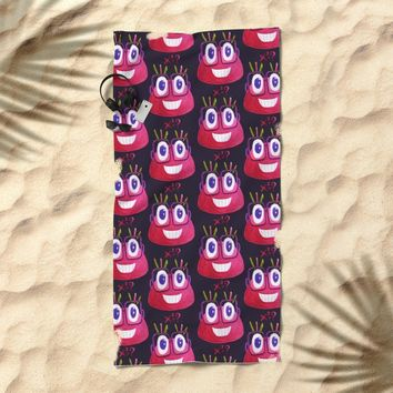 Cute Geek Mathematician Watercolor Candy Beach Towel by borianagiormova