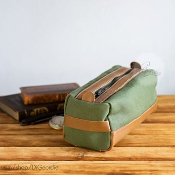 Dopp kit bag dopp kit toiletry bag leather dopp kit canvas dopp kit waxed canvas dopp shaving kit handmade dopp kit military green and brown