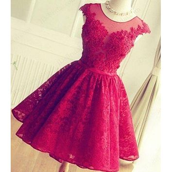 LMFIH3 FASHION RED HANDMADE LACE SHINING RHINESTONE PROM PARTY DRESS