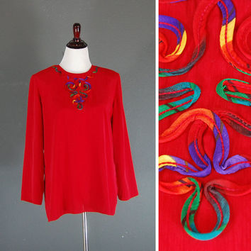 Vintage Red Tunic Blouse / Multicolored Applique / Size Large
