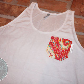 White Tank Top with Pretty Persian Fabric Pocket by CoastCouture