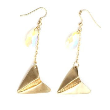 Paper Airplane Beaded Dangle Earring Gold Tone Plane Charm EA47 Fashion Jewelry