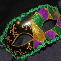 Harlequin Mask in Purple, Green, Gold and Black