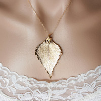 Gold dipped birch leaf necklace gold filled chain by DelicacyJ