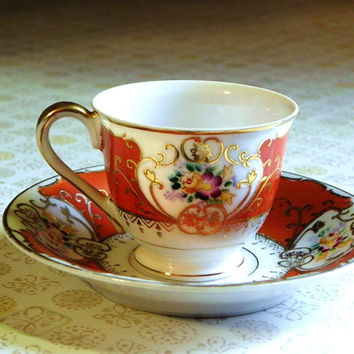 Chugai Porcelain Demitasse Occupied Japan Cup and Saucer