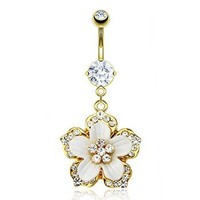 Gold Tone Belly Ring With Dangling Jeweled Flower