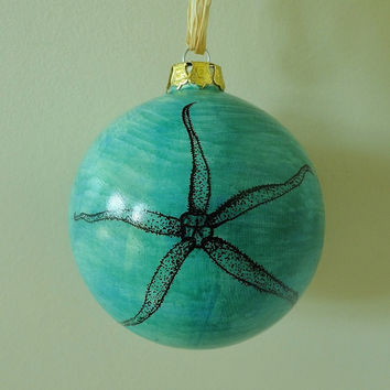 Ornament Coastal Beach Decor Holiday Ornament Coral Starfish Christmas