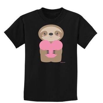 Cute Valentine Sloth Holding Heart Childrens Dark T-Shirt by TooLoud