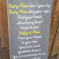 Baby Mine Dumbo Disney Nursery Song Wooden Distressed Subway Art Sign Wall Hanging