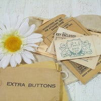Vintage Naturally Aged Envelopes Collection Set of 10 - Old Fashioned Small Envelopes for Extra Buttons - Vintage Jewelry Box Key Envelopes