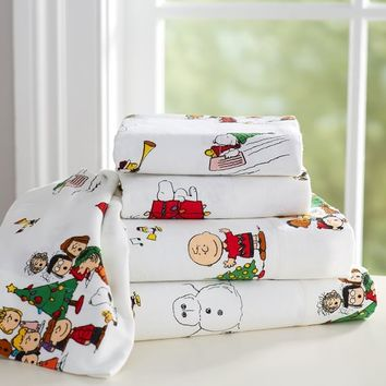 PEANUTS™ FLANNEL SHEET SET, XL TWIN, WHITE