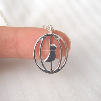 Caged Bird Necklace - 2 colors available (gold and silver) - dainty, cute and lovely pendant jewelry;animal necklace