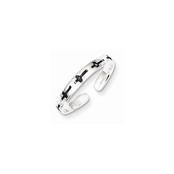 Sterling Silver Antiqued Crosses Toe Ring, Best Quality Free Gift Box Satisfaction Guaranteed