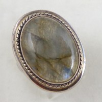Estate Sterling Silver Labradorite Ring Unisex Size 8