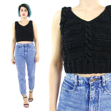 90s Black Cable Knit Crop Top Vintage Chunky Knit Sweater Tank Top Sleeveless Cropped Sweater Goth Minimalist Knitted Crop Top (XS)