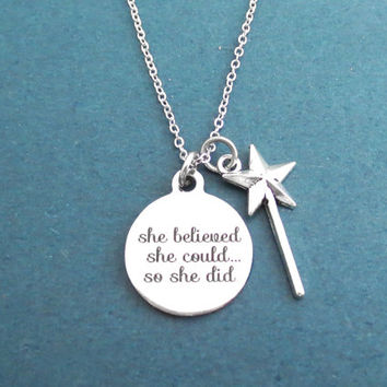 She believed, She could..., So she did, Wand, Silver, Necklace, Magic, Wand, Hope, Wish, Accomplishment, Gift, Jewelry