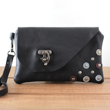 Black Leather Wristlet with Rivet Detail - Wristlet Wallet - Leather Bag - Smartphone Wristlet Wallet - Wristlet Clutch - Small Bag