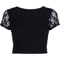River Island Womens Black lace cap sleeve crop top
