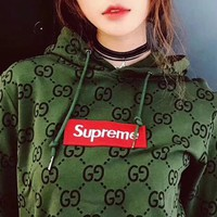 Gucci x Supreme Fashion Green Pullover Sweater Sweatshirt Hoodie