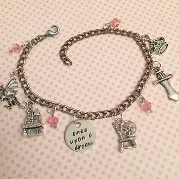 Once Upon A Dream Charm Bracelet - Fairytale Jewelry - Once Upon A Time Jewelry - Princess Jewelry - Sleeping Beauty Inspired Jewelry