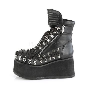 Clash 150 Black Corset Lace Up Goth Ankle Boot -Pre-Order