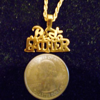 bling gold plated best father word pendant charm rope chain hip hop necklace jewelry special