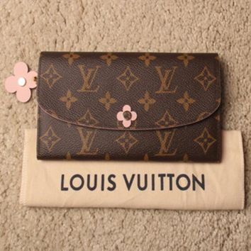 LV Louis Vuitton Trending Women Shopping Leather Pink Four-Leaf Clover Buckle Wallet Purse I