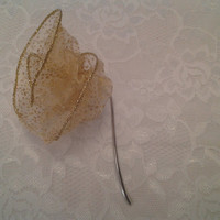 Gold Ribbon Flower Small Silver Bookmark