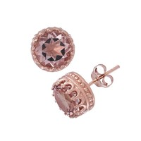 14k Rose Gold Over Silver Morganite Triplet Stud Earrings (Pink)