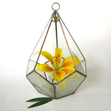 Terrarium polyhedron.Stained glass terrarium.Geometric terrarium.Planter for Indoor Gardening