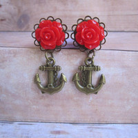 "Pair of Rose Plugs with Antique Brass Anchor Charms - Handmade Girly Gauges - 4g, 2g, 0g, 00g, 7/16"", 1/2"", post earrings"