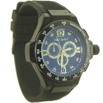 Paul Jardin Sport style Watch for Men Rubber Strap black and blue dial - 3