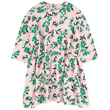 Marni Girls Floral Printed Pink Crepe Dress