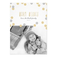 Gold Glitter Holiday Photo Flat Card