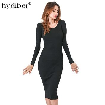 2017 Long Sleeve Sexy Club Dresses Criss Cross Bandage Hollow Out Deep O Neck Open Chest Bodycon Dress Package Hip Party Vestido