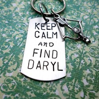 Keep Calm and Find Daryl Keychain, Crossbow Keychain, Daryl Dixon Fan, Walking Dead Fan Inspired