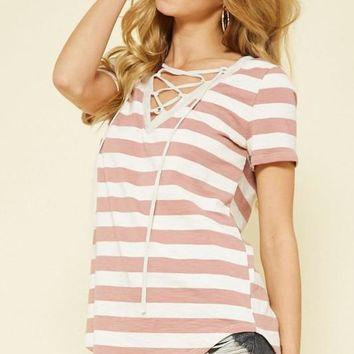 Striped Lace-front Top (multiple colors available)