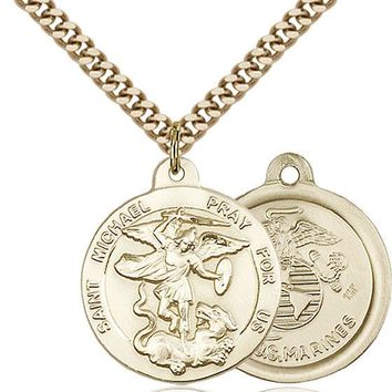 14K Gold Filled St Michael Marines Military Soldier Catholic Medal Necklace 617759791617