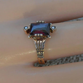 Victorian 10K Spinel Seed Pearl Ring, Rose Gold, Size 7, Alternative Engagement