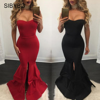 Sibybo Autumn Winter Off Shoulder Backless Celebrity Prom Party Dresses Sexy Slit Mermaid Long Maxi Bodycon Dress