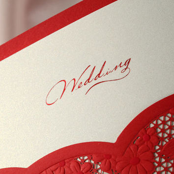 Laser Cut Red Lace Wedding Invitations Printable Custom Unique Set For Wedding and Bridal Shower - Pack of 50