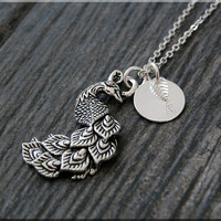 Silver Peacock Necklace, Initial Charm Necklace, Personalized Necklace, Peacock Charm, Bird pendant, Nature Inspired Jewelry, Bird Necklace