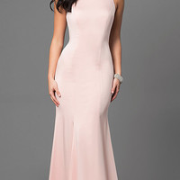 Long Prom Dress with Sheer Lace Applique Back