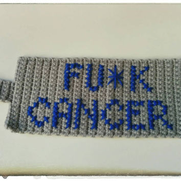 Fu*k Cancer Grey/Blue Mug Cozy - Handmade Crochet Coffee/Tea Cup Cozy - Cancer Awareness - Crafts for a Cause